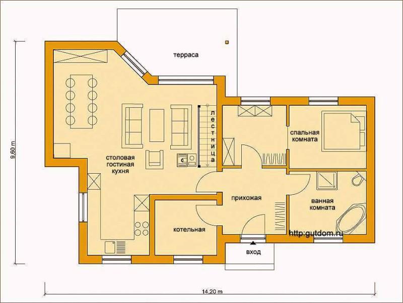 План первого этажа дома Проект ГБ60