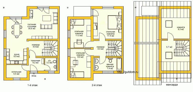 Поэтажные планы Проект ГБ70