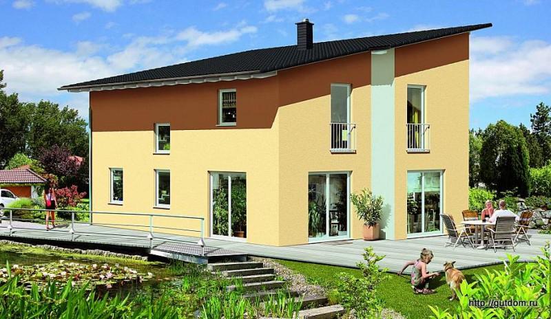 Проект ГБ40 двухэтажного дома из газоблоков площадью 131 м2, вариант с плоской крышей, видовой эскиз
