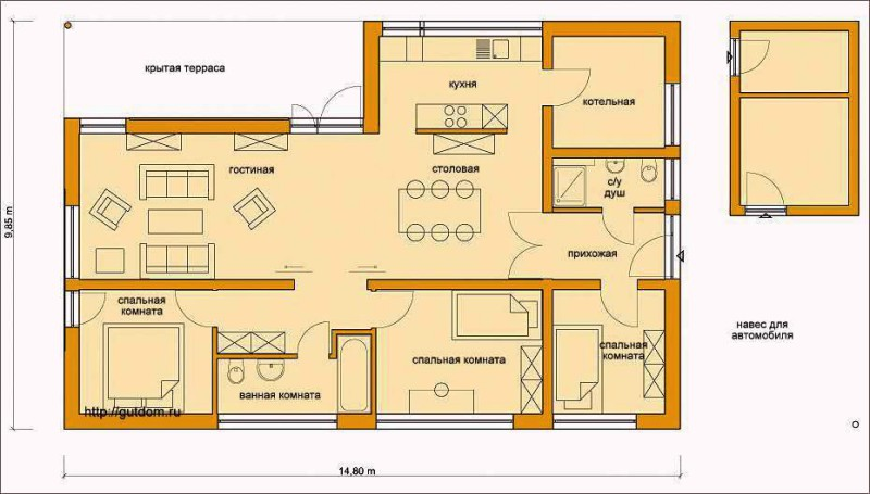 Проект ГБ57 план одноэтажного дома