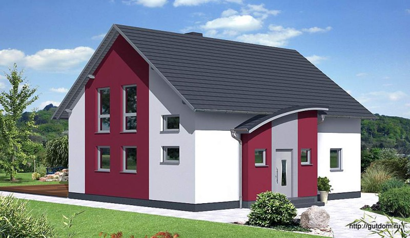 Проект Ytong двухэтажного дома 124 м2, эскиз 3
