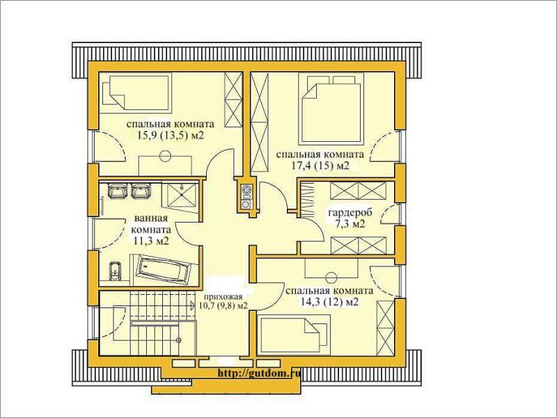 план второго этажа дома из газобетона Проект ГБ49-3