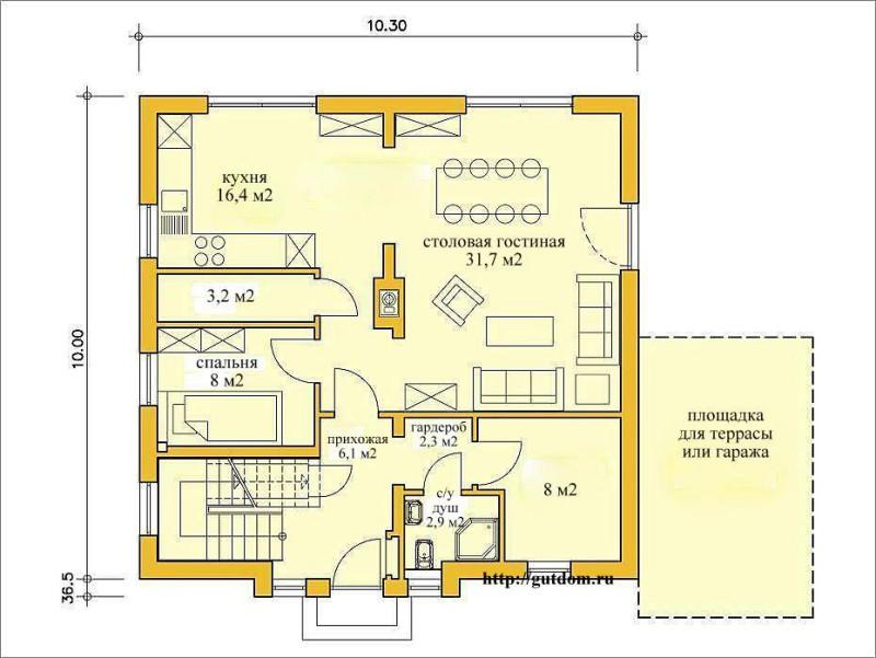 план первого этажа дома из газобетона Проект ГБ49-3