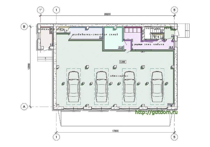 Планировка первого этажа автосервиса