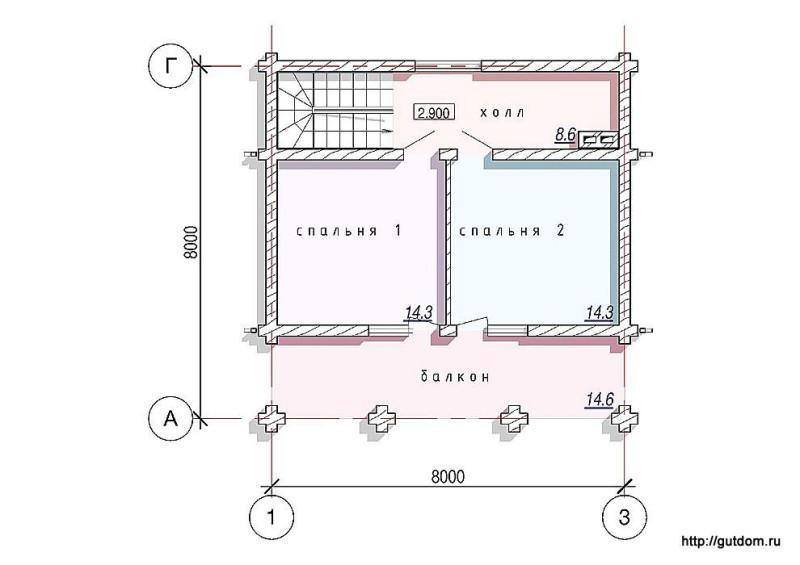 Планировка второго этажа бани
