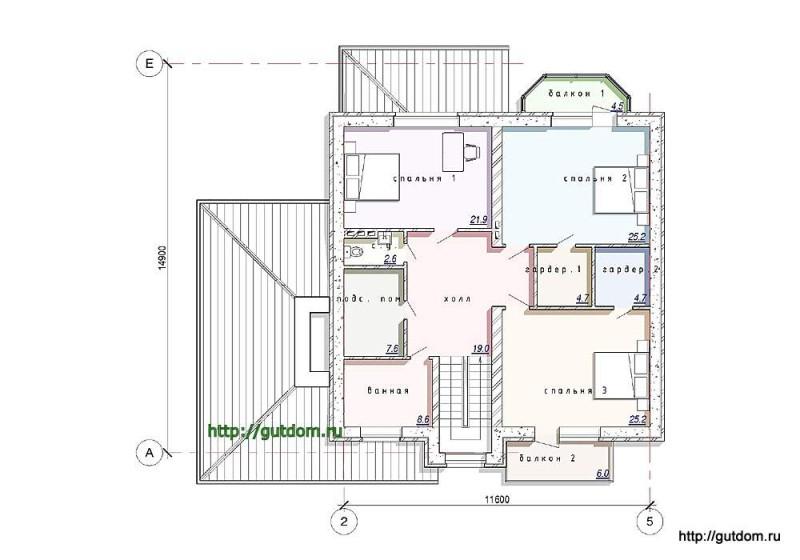 План второго этажа дома из газосиликата