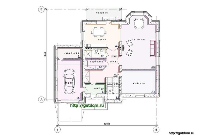 План первого этажа дома из газосиликата