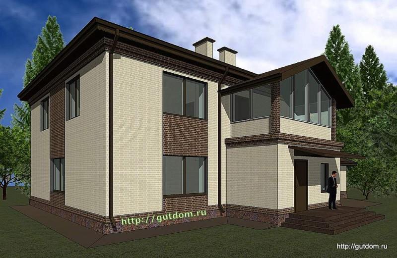 Проект двухэтажного дома Панц12 площадью 253 м2 эскиз 2