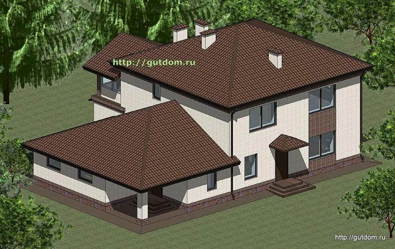 Проект двухэтажного дома Панц12 площадью 253 м2 эскиз 3