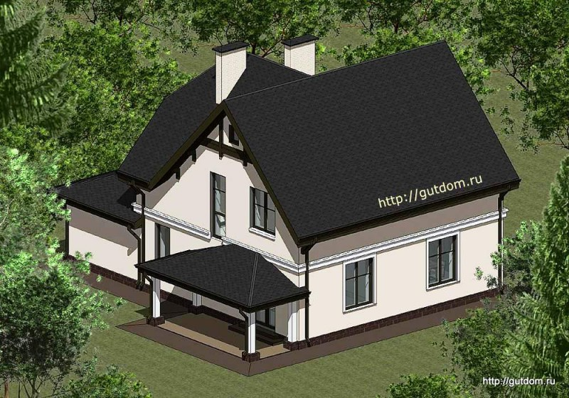 Проект двухэтажного дома Панц17 эскиз 2