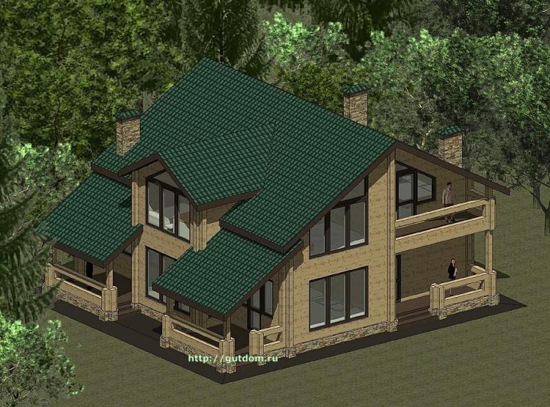 Проект двухэтажного дома из бруса площадью 212 м2 эскиз 2