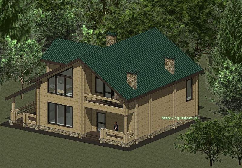 Проект двухэтажного дома из бруса площадью 212 м2 эскиз 3