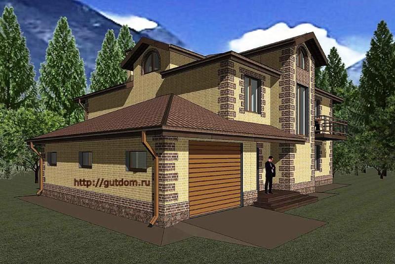 Проект двухэтажного дома из газоблоков Панц10 площадью 308 м2 эскиз 2