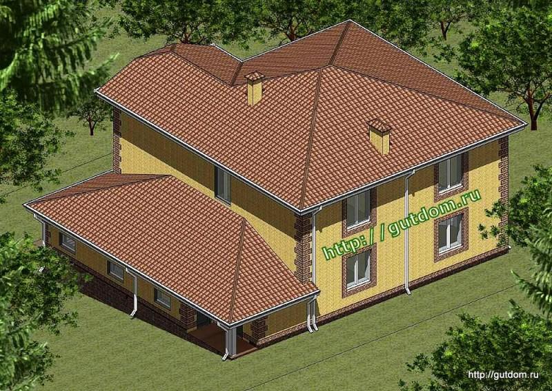 Проект двухэтажного дома из газоблоков Панц11 эскиз 3
