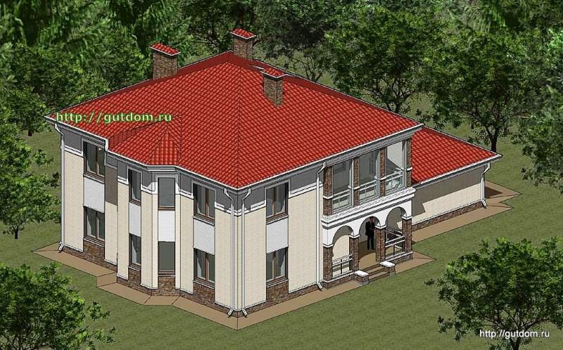 Проект двухэтажного дома из газоблоков Панц12 площадью 256 м2