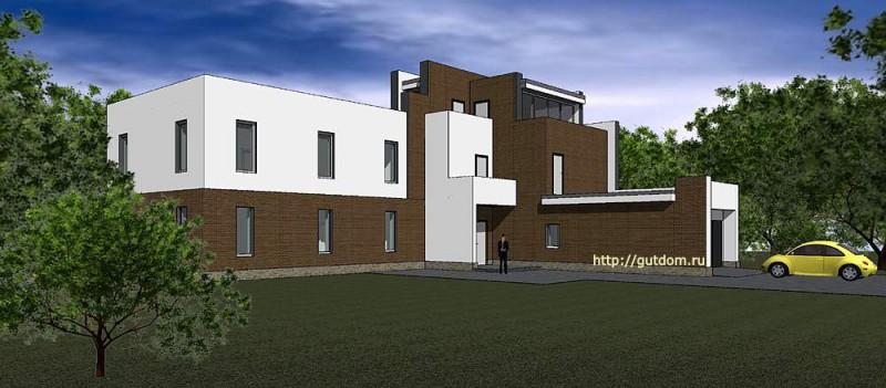 Проект двухэтажного дома из газоблоков Панц9 эскиз 3