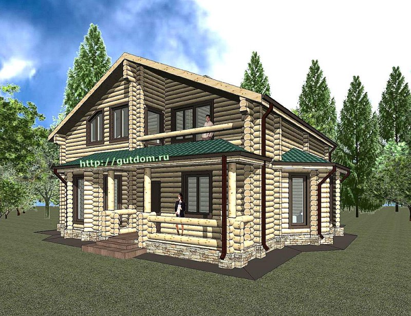 Проект двухэтажного дома из оцилиндрованного бруса Панц 1 эскиз 1