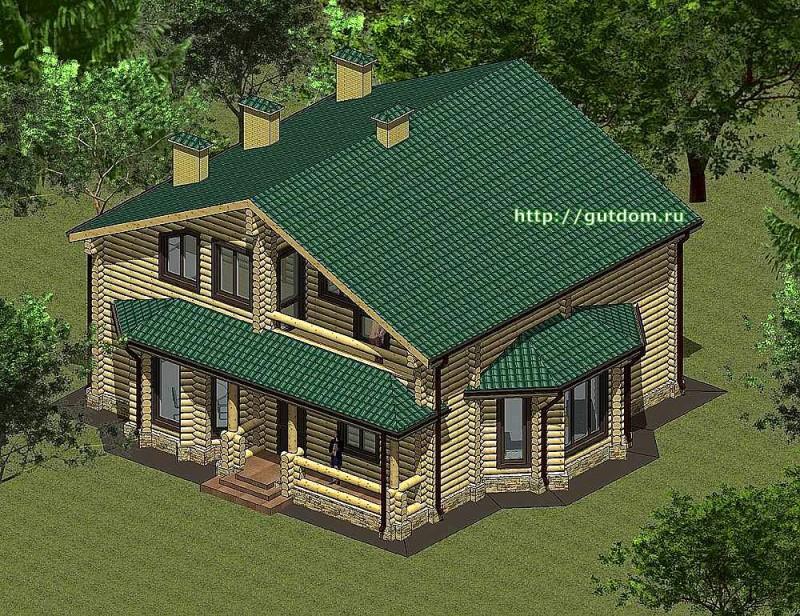 Проект двухэтажного дома из оцилиндрованного бруса Панц 1 эскиз 2