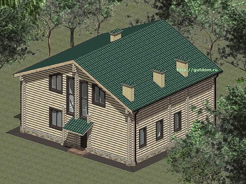 Проект двухэтажного дома из оцилиндрованного бруса Панц 1 эскиз 3