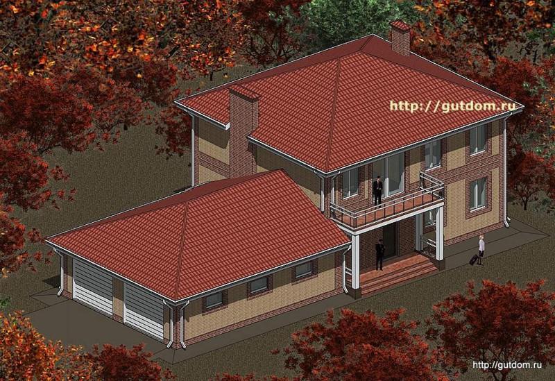 Проект двухэтажного дома с гаражом Панц15 площадью 248 м2