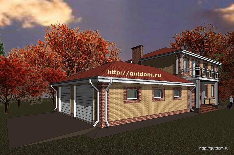 Проект двухэтажного дома с гаражом Панц15 эскиз 2