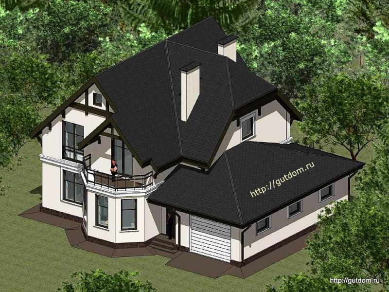 Проект двухэтажного дома с гаражом Панц17