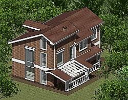 Проект двухэтажного дома с мансардой из газоблоков Панц16 ум