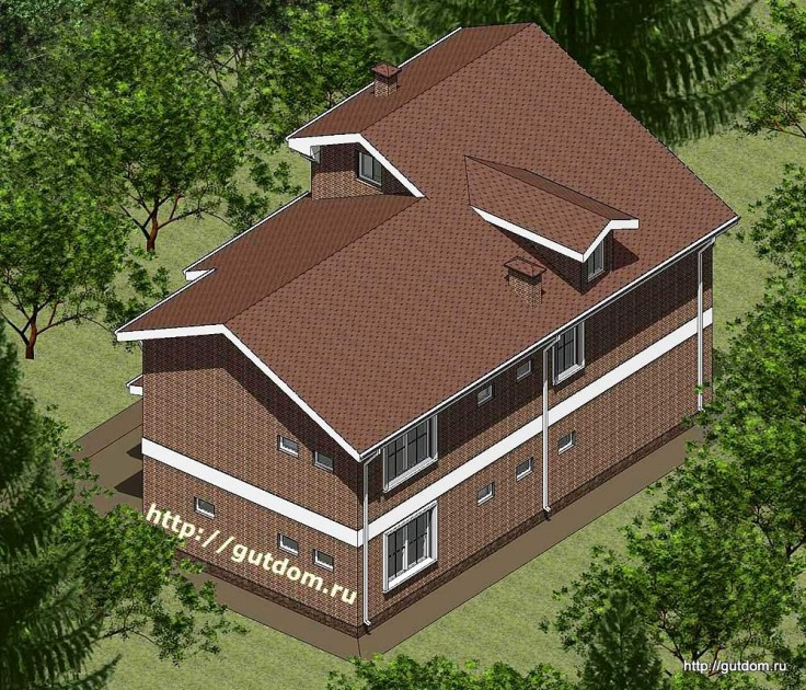 Проект двухэтажного дома с смансардой из газоблоков Панц16 эскиз 3