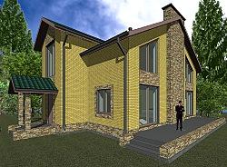 Проект двухэтажного коттеджа Панц21 ум