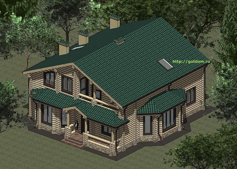 Проект дома из оцилиндроанного бревна площадью 234 м2, эскиз 1