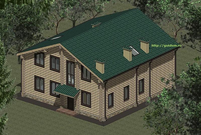 Проект дома из оцилиндроанного бревна площадью 234 м2, эскиз 2