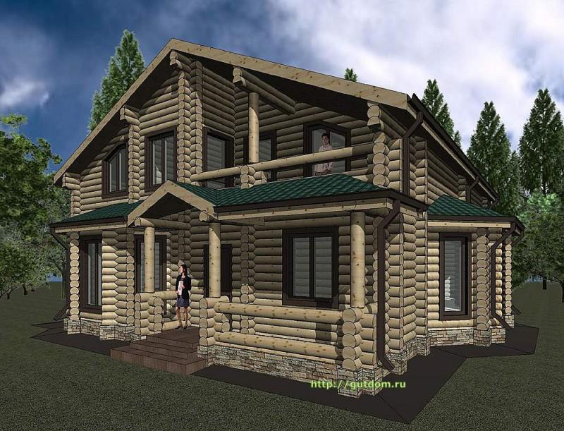 Проект дома из оцилиндроанного бревна площадью 234 м2, эскиз 3