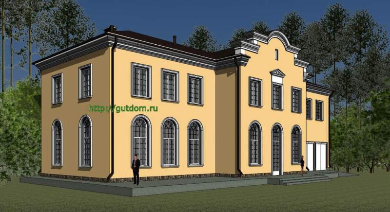 Проект духэтажного дома Панц7 площадью 509 м2, главный фасад особняка 2