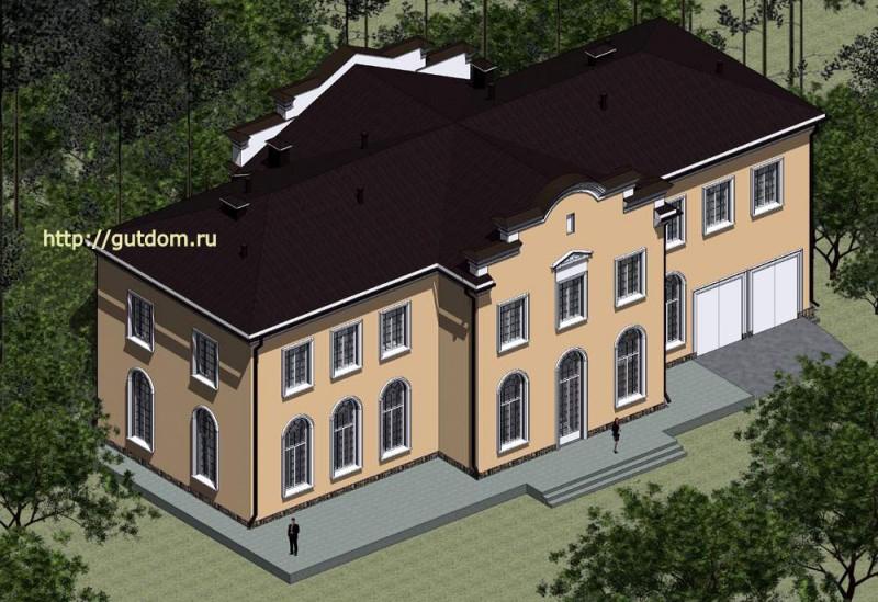 Проект духэтажного дома Панц7 площадью 509 м2, главный фасад особняка