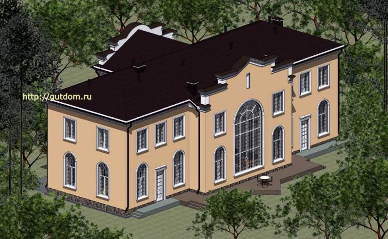 Проект духэтажного дома Панц7 площадью 509 м2, задний фасад
