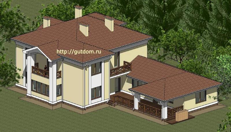 Проект элитного коттеджа Панц8 площадью 339 м2 эскиз 5