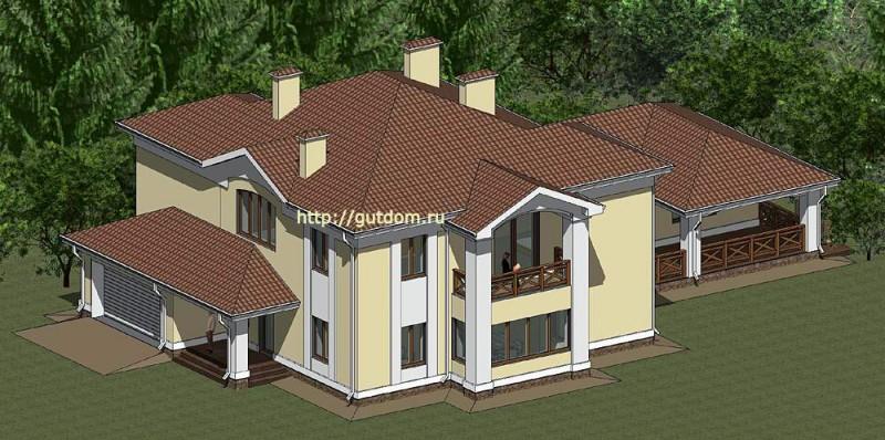 Проект элитного коттеджа Панц8 площадью 339 м2