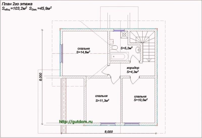 Планировка второго этажа дома из бруса Проект Вика4