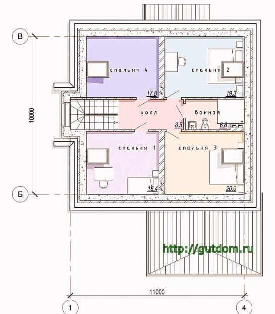 Планировка второго этажа дома из газобетона