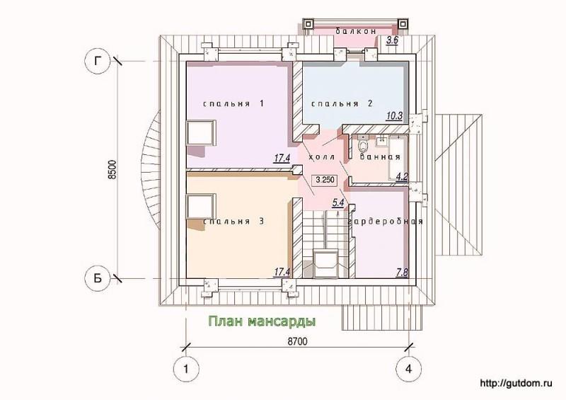 Планировка второго этажа дома из газоблоков