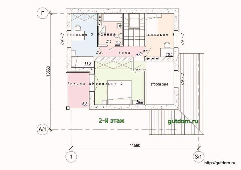 Планировка второго этажа коттеджа из газобетона