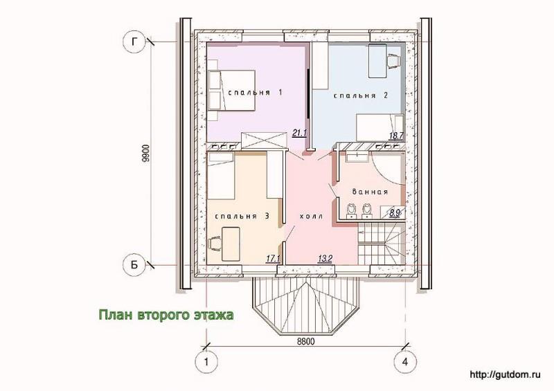 Планировка второго этажа коттеджа