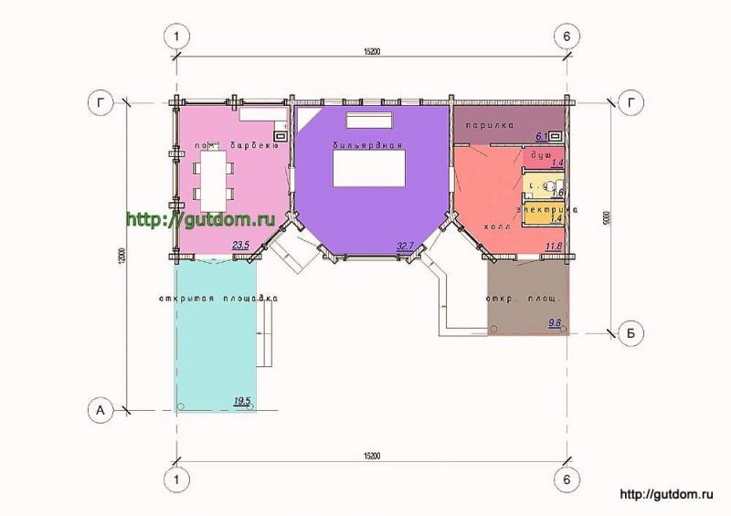 Планировка одноэтажного дома отдыха