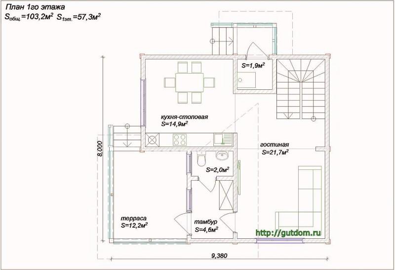 Планировка первого этажа дома из бруса Проект Вика4