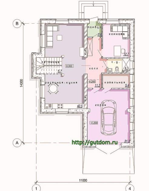 Планировка первого этажа дома из газобетона