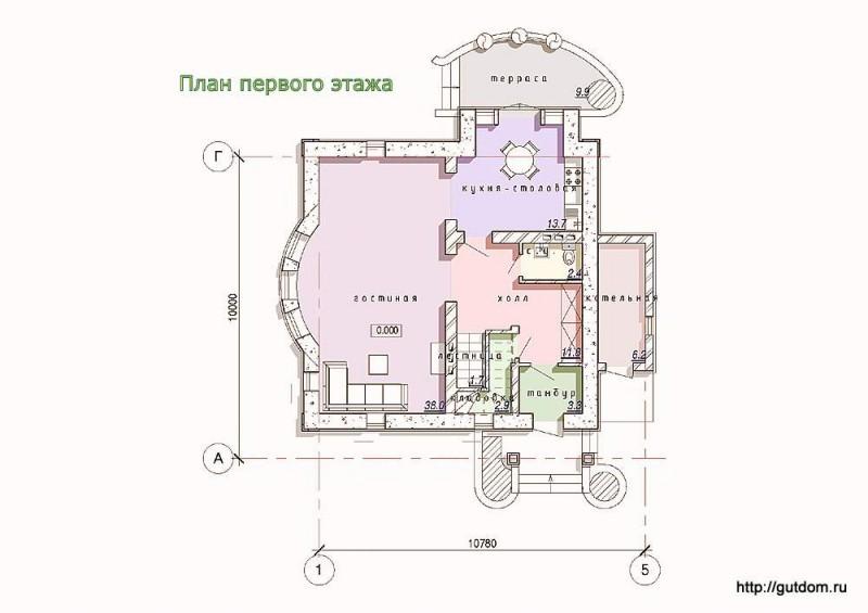 Планировка первого этажа дома из газоблоков