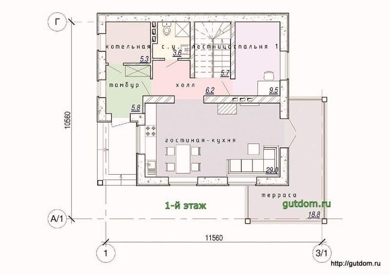Планировка первого этажа коттеджа из газобетона