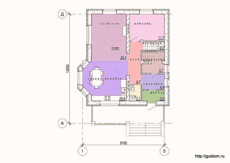 Планировка первого этажа коттеджа