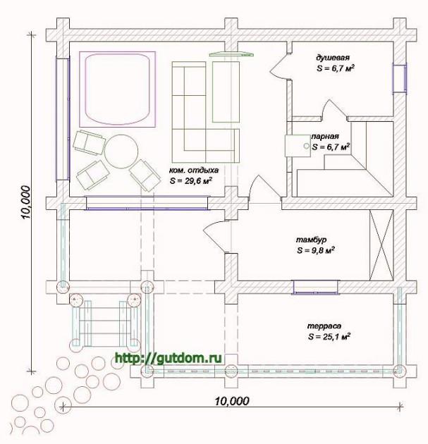 План бани с планировкой помещений, Проект Вика3