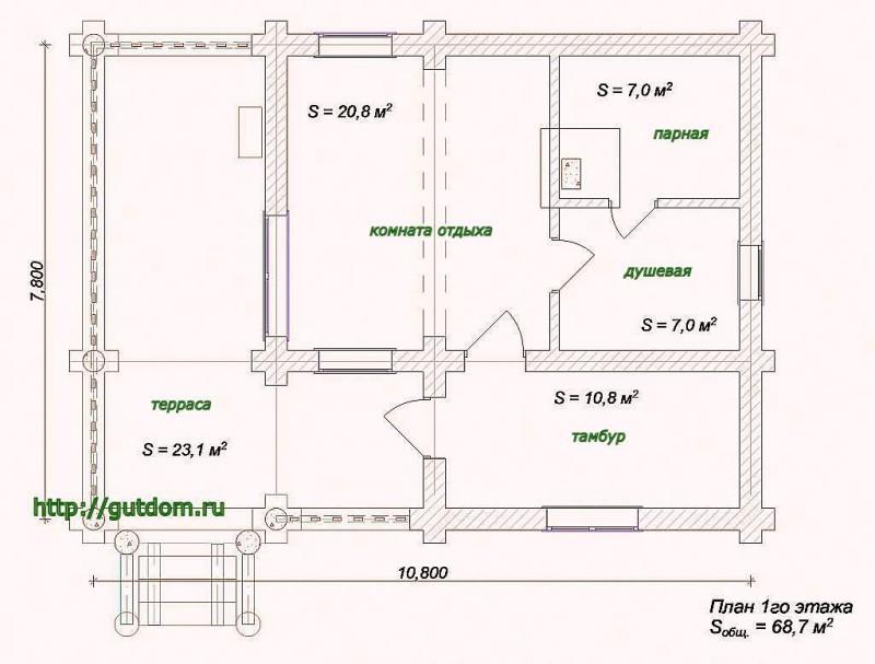 План бани с планирокой и размерами помещений